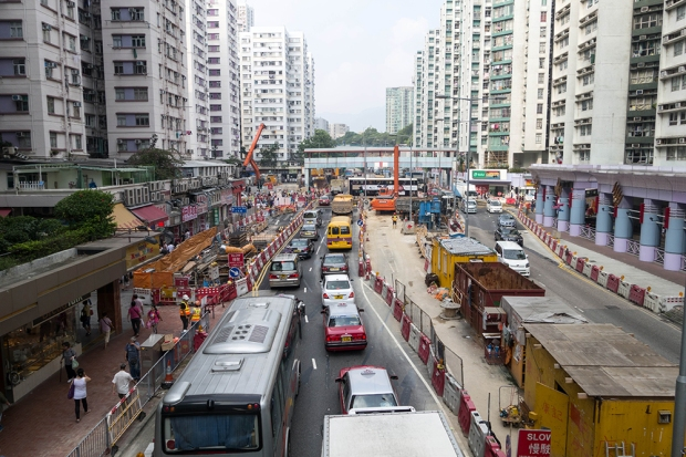 Traffic is backed up far down the block on Hung Hom Road. Traffic flow in the already busy Whampoa area has become more congested since the construction began.