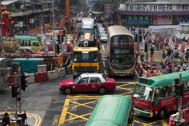 The intersection leading into Whampoa Gardens is always busy, as Whampoa Gardens is a major stop for many buses.